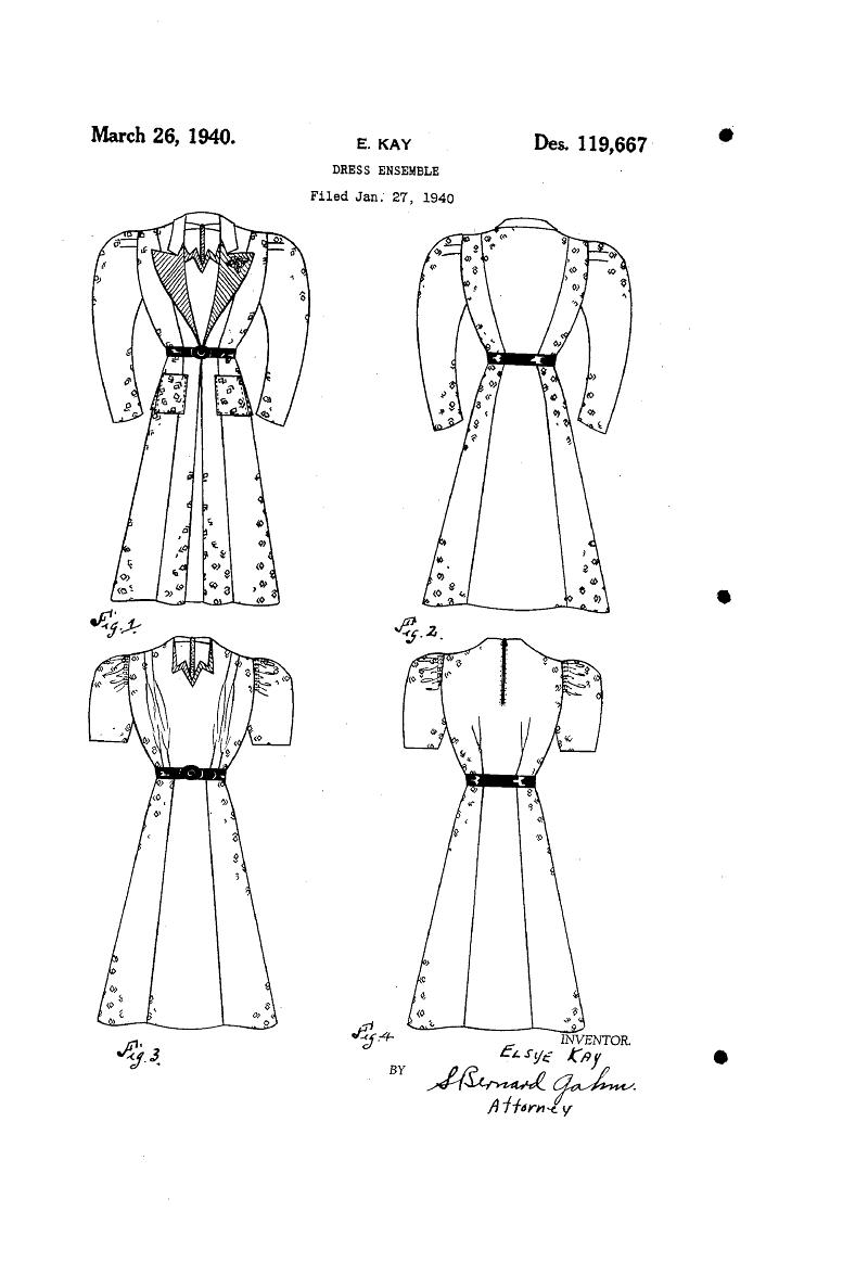 1940 DESIGN FOB A DRESS ENSEMBLE  Elsye Kay