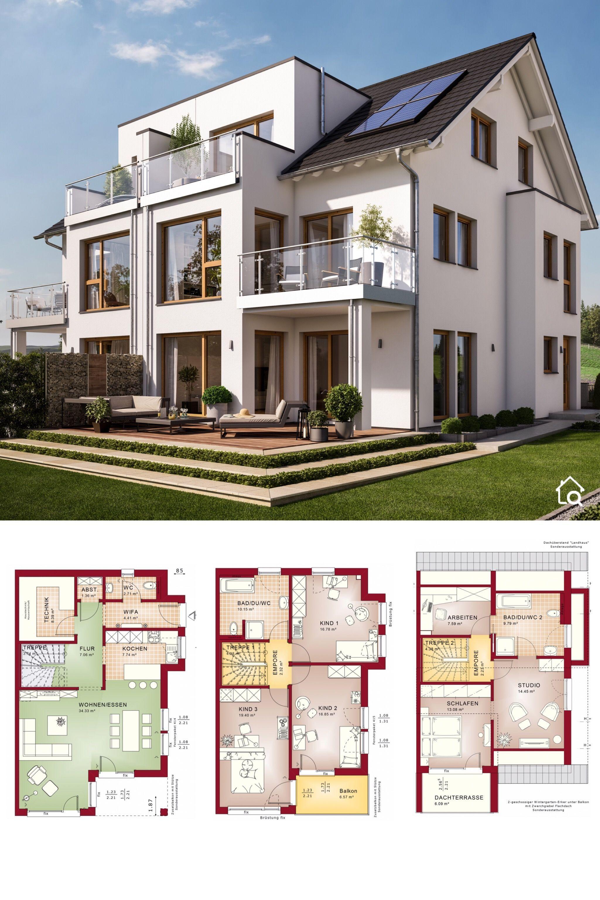 Modernes Doppelhaus, Grundriss groß mit Satteldach, 7