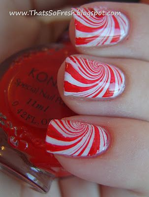 Christmas Candy Nail Art This Looks Like A Water Marble Worth