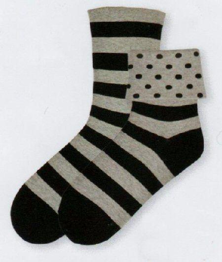 K Bell Flip Cuff Dots Sock