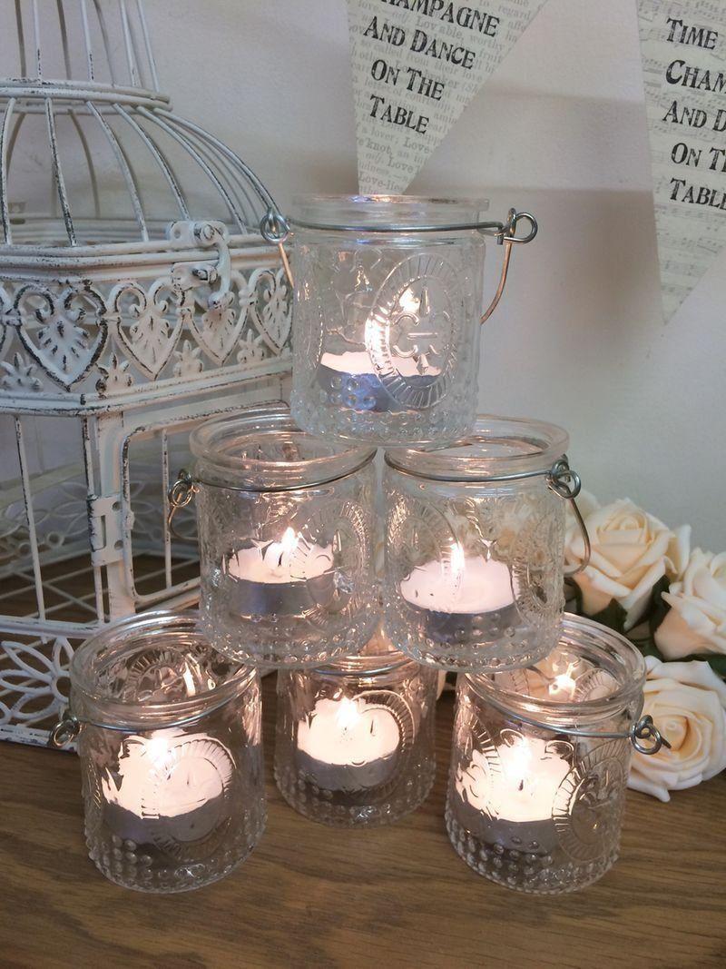 Set of 6 vintage glass tea light holders candle votive hanging jars set of 6 vintage glass tea light holders candle votive hanging jars wedding decoration amazon junglespirit Gallery