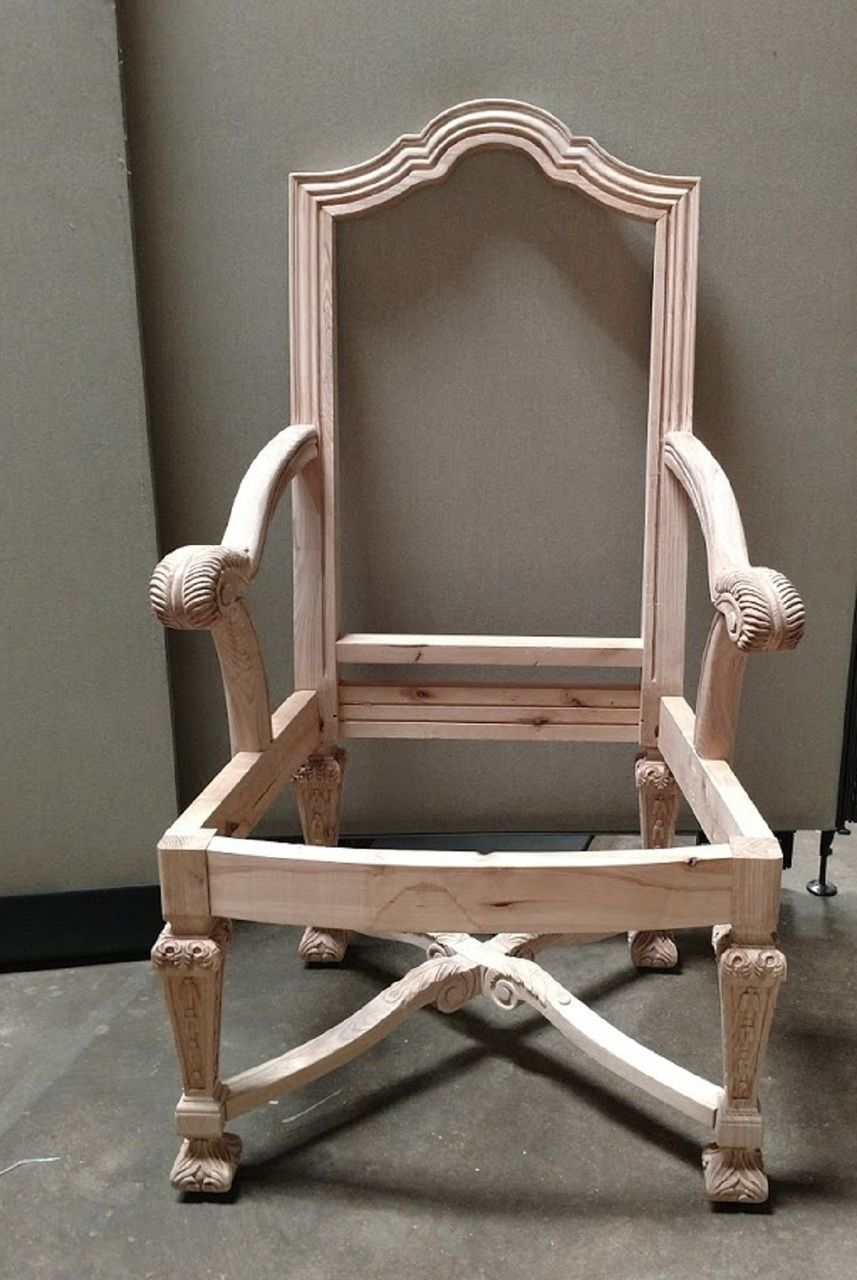 Vanguard Furniture Unfinished Carved Dining Arm Chair Frame