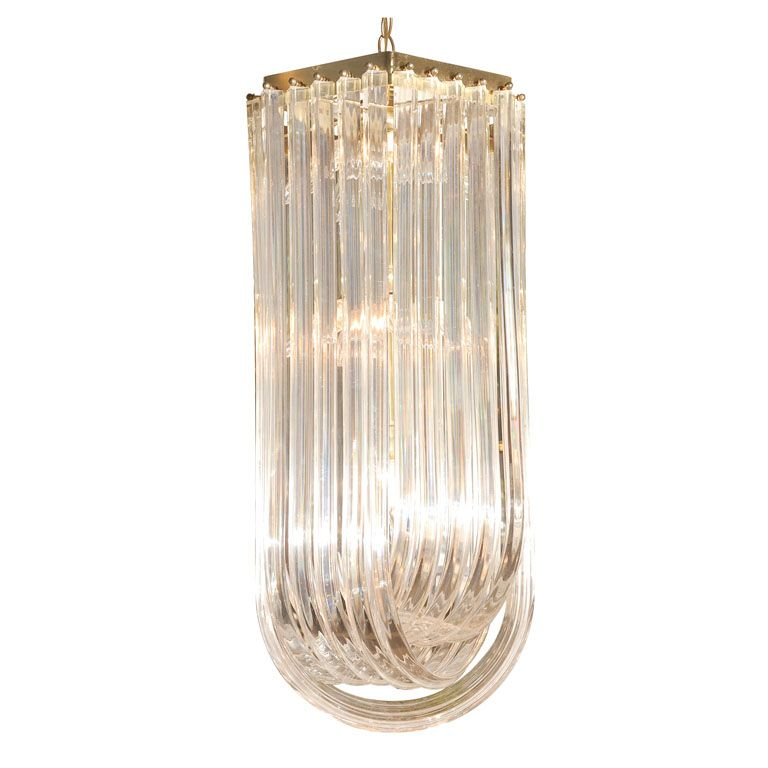 Tiered Lucite Ribbon Chandelier 1stdibs Com Chandelier Ribbon Chandelier Vintage Chandelier