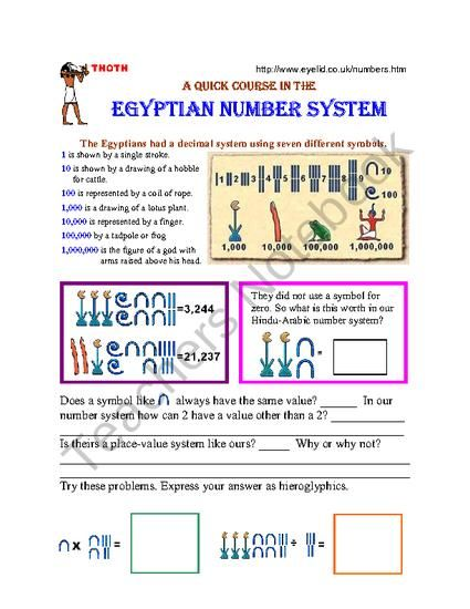 This Is A Companion Worksheet Designed To Reinforce And Provide More Practice For The Skills Introduced In The Egyptian Number System 23 Sl Egipto Clil Egipcio