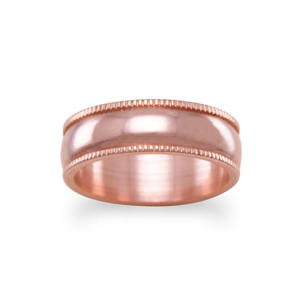 SOLID COPPER BAND RING Milgrain Edge 6mm wide Healing Pain Relief ...