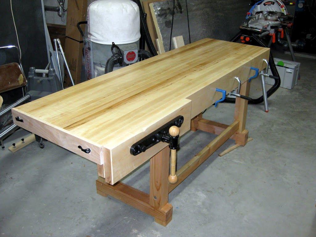 Built This Workbench Out Of Hard Maple Top And Douglas Fir Legs Workbench Home Carpenter Work