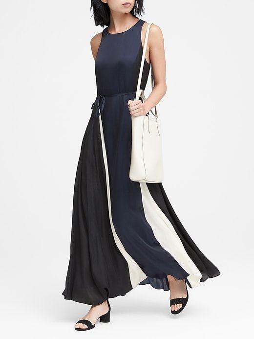 8d9a02ba Banana Republic Womens Petite Paneled Maxi Dress Black Mix ...