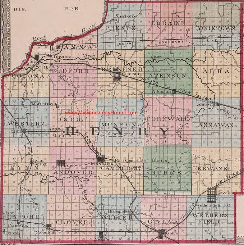 Kewanee Illinois Map.Henry County Illinois 1870 Map Kewanee Geneseo Cambridge Andover