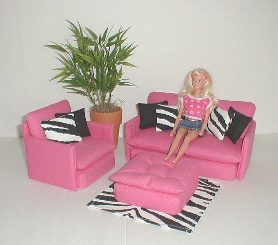 Barbie Furniture Living Room Set Pink with Zebra / Black Monster ...