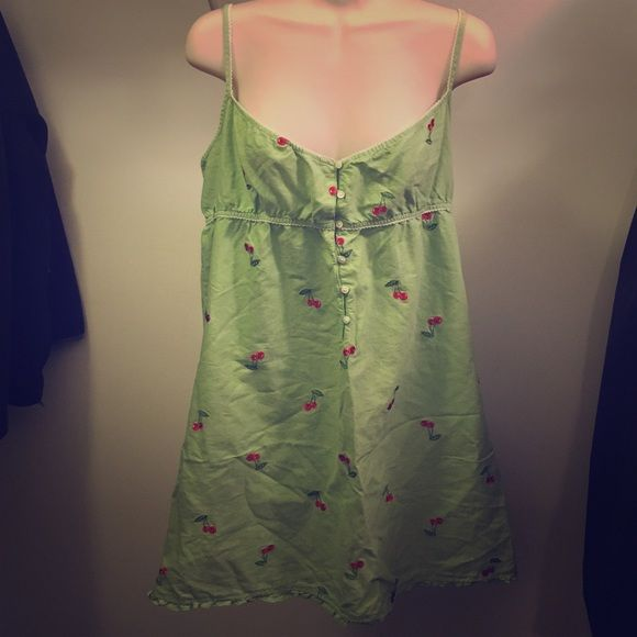 Green J. Crew Chemise with Embroidered Cherries Adorable J. Crew sleep gown/chemise with embroidered cherries. J. Crew Intimates & Sleepwear Chemises & Slips
