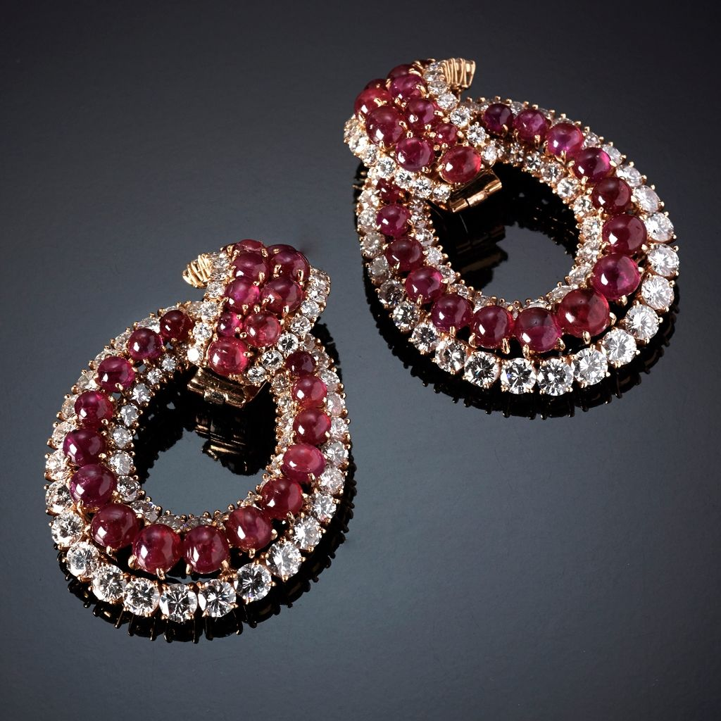 Earrings set with rubies and diamonds VAN CLEEF & ARPELS