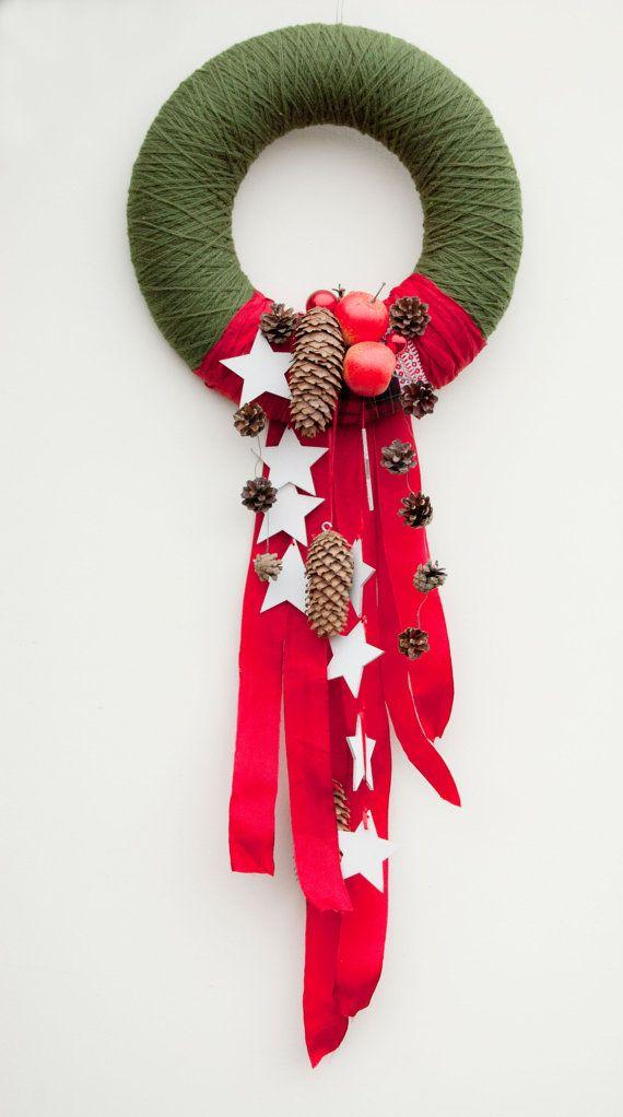 Ähnliche Artikel wie Weihnachten Kranz Haustür - Urlaub Kranz - rot und grün Weihnachtskranz - Weihnachts-Tür-Dekor auf Etsy