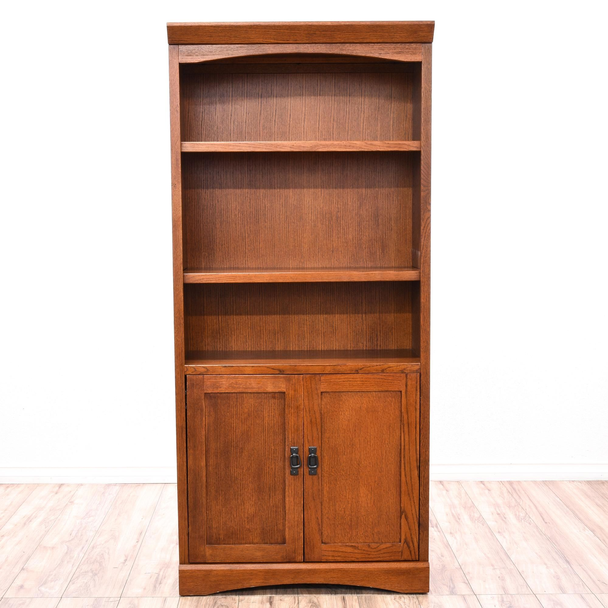This Bookshelf Is Featured In A Solid Wood With Glossy Red Oak Finish Contemporary Style Bookcase Cabinet Has 3 Sections Bottom