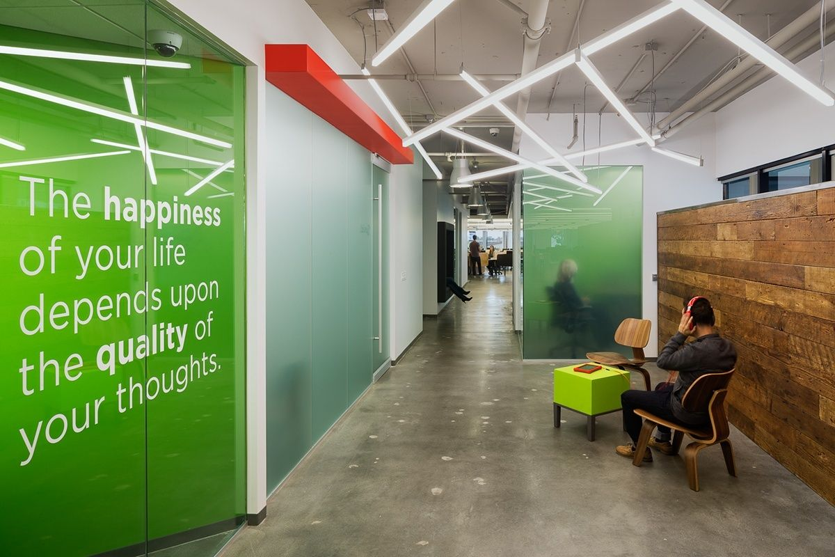 Color art office interiors - Inside Fuhu S Stylish Los Angeles Office Inspirational Wall Artoffice Interiorslos Angeles