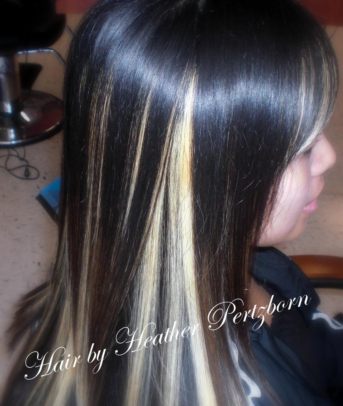 Lovely Medium Length Straight Deep Brown Or Black Hair With Blonde