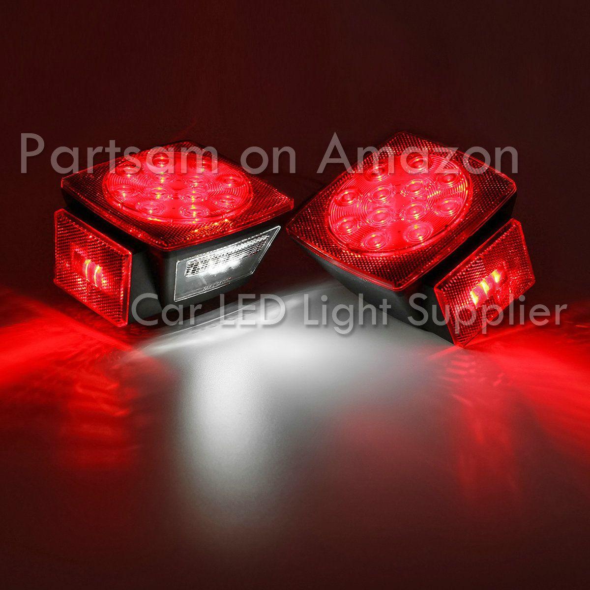 Partsam Trailer Boat Red Stop Turn Tail Light And White License Plate Light Complete Set Pack Of 2pcs Appl Led Trailer Tail Lights Car Led Lights Tail Light