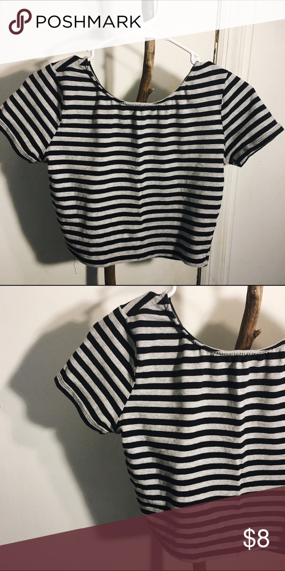 f21 crop top forever21 , grey and black strip crop top. Forever 21 Tops Crop Tops