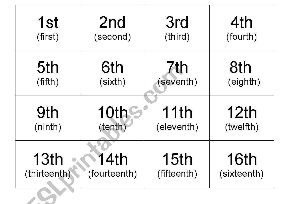 Ordinal Number Flashcards Worksheet