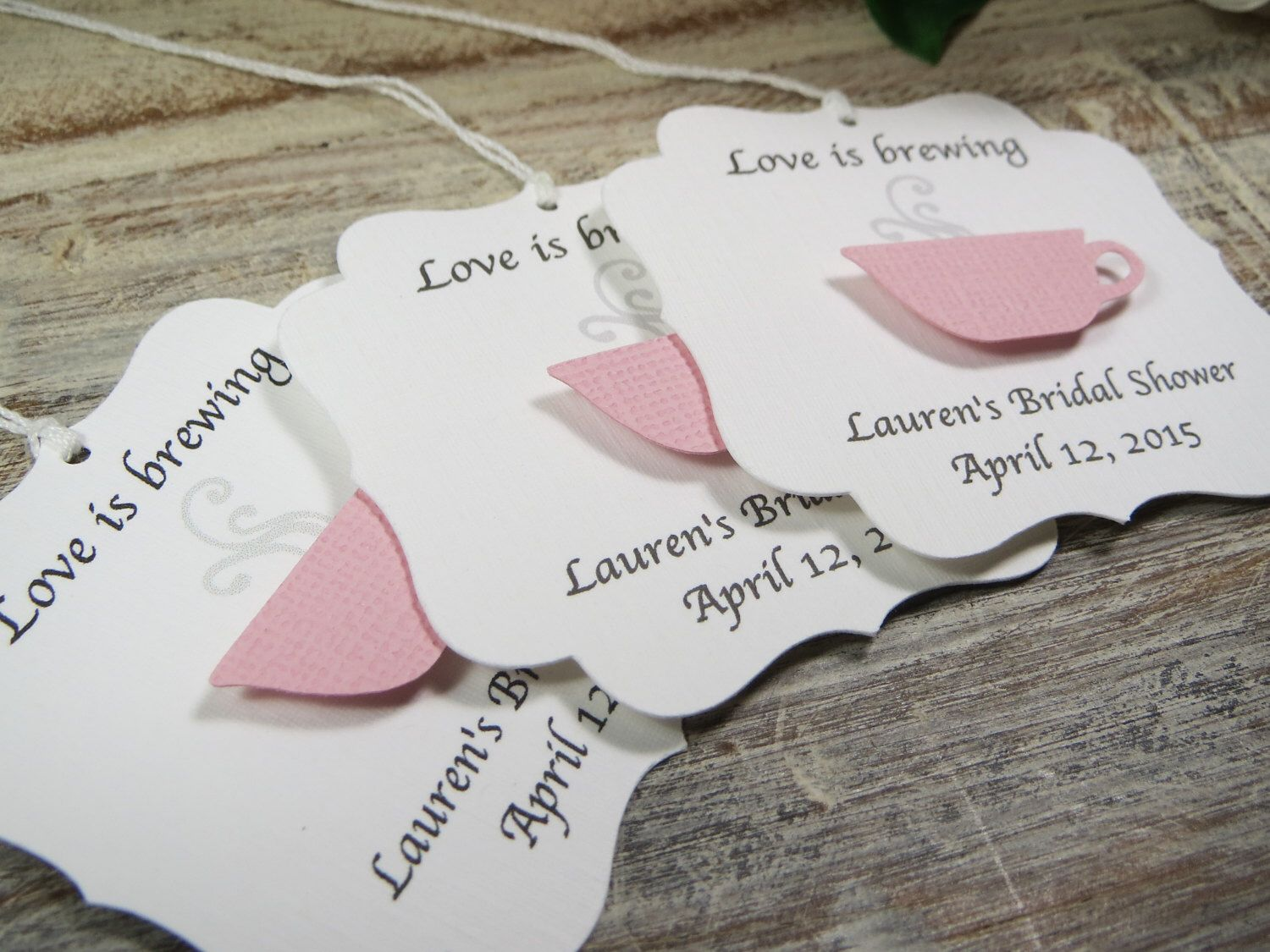 Bridal shower favor tags, Love is brewing wedding favor tags, tea ...