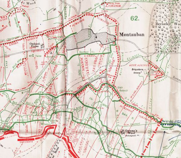 Detailed disposition of units on British lines opposite Montauban