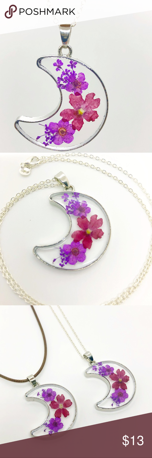 Real Flower Necklace Crescent Moon Pressed Flower Such a beautiful Hickory Moon piece These necklaces are handmade with real pressed dried flowers encased in resin Each p...