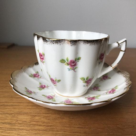 Victoria C E China Tea Cup And Saucer Little Pink Rose Teacup And Saucer Brushed Gold Trim Bone Tea Cups Tea Cup Design Tea Cups Vintage