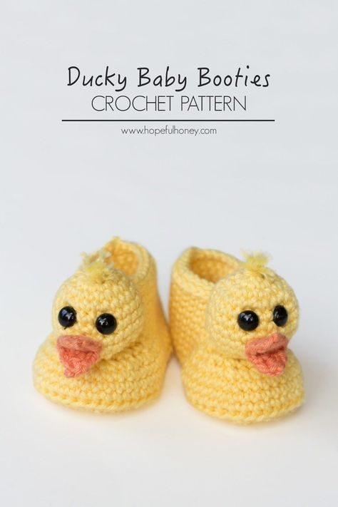 Duckling Baby Booties Crochet Pattern | tricot | Pinterest ...