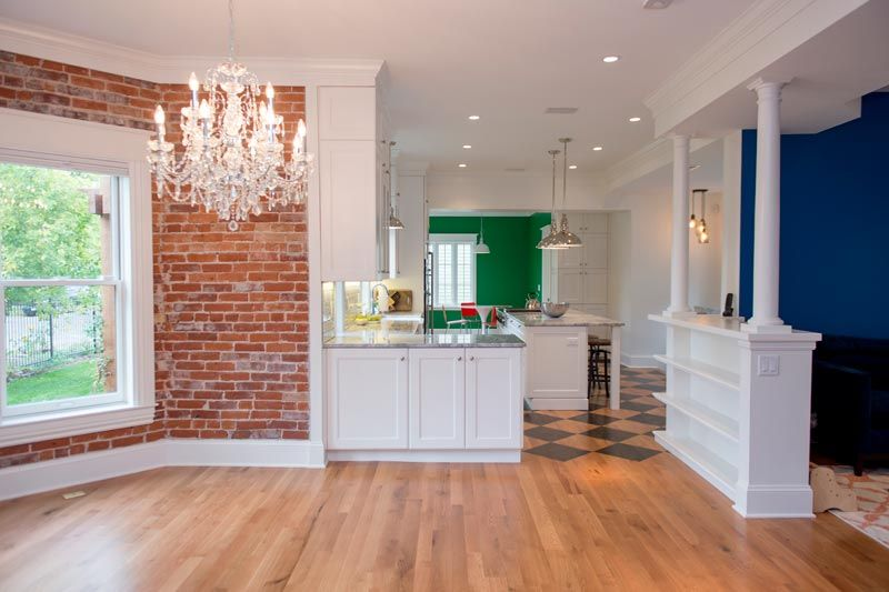 Remodeled Victorian Homes Exposed Brick With Chandiler