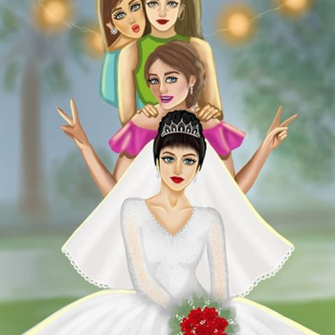 Pin By أفراح الخليج On Bride Couple Wedding Girly Pictures Cute Girl Drawing Cute Cartoon Girl