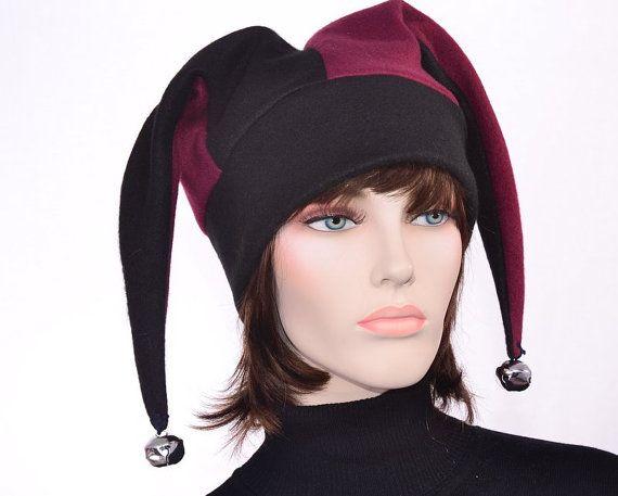 007c60f991c6d Traditional Jester Cap Harlequin Jester Hat Maroon Black Fool Hat ...