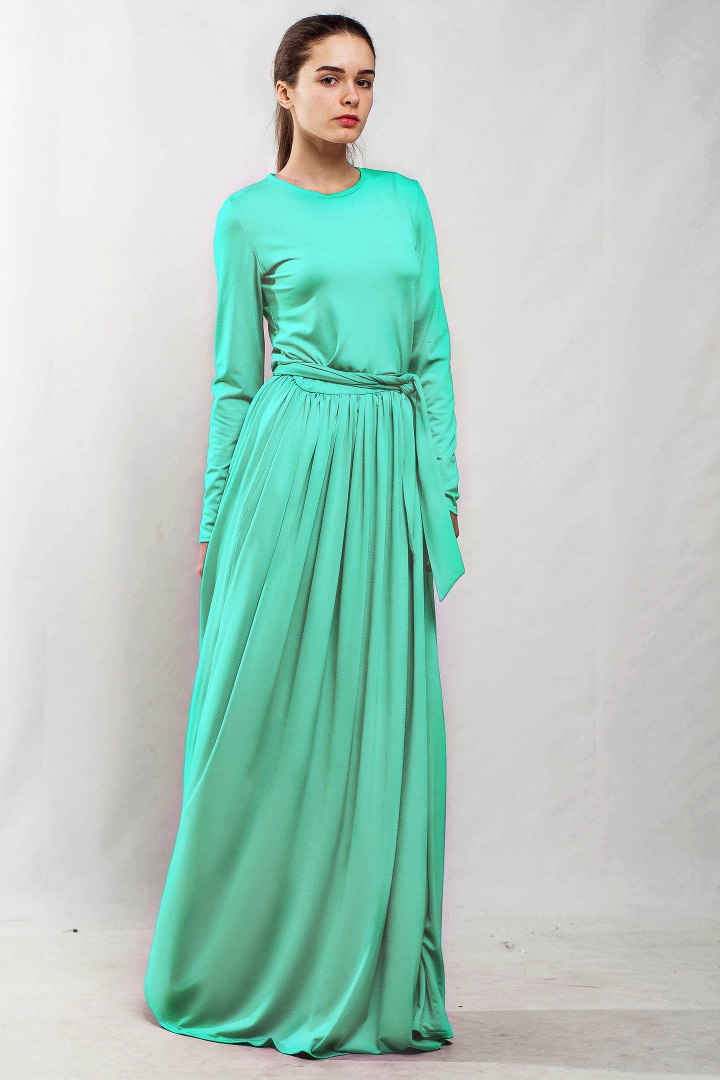 Mint Long Sleeve Cocktail Dresses