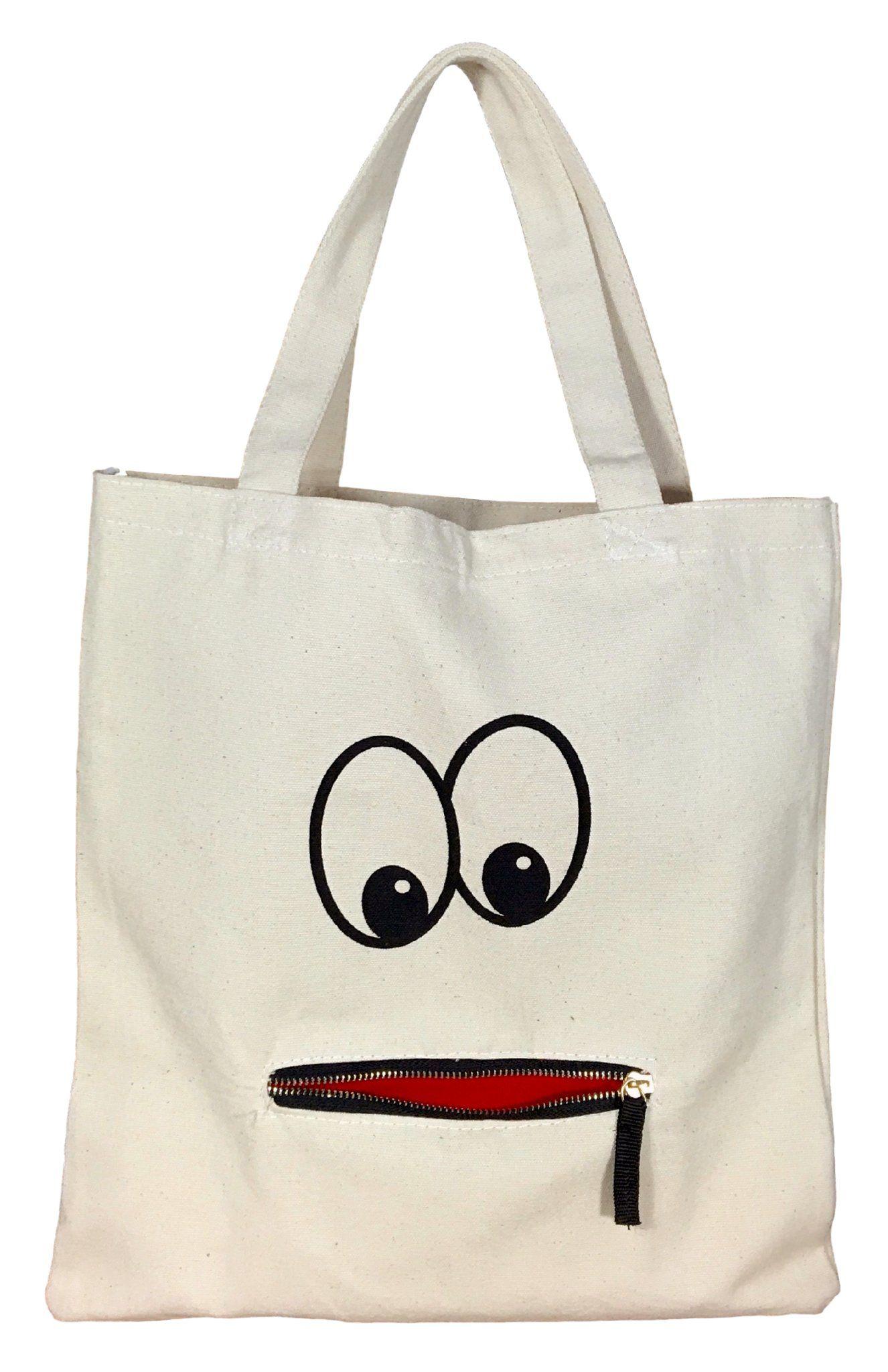 b41c1e01852 Googly Eye Zipper Tote | Craft ideas | Bags, Cloth bags, Tote bags ...