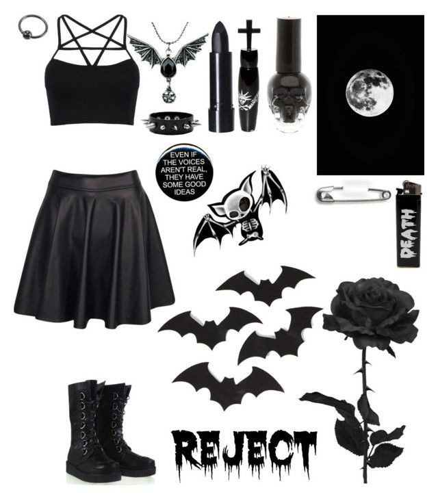 """Dead tired rn☠"" by myxx13 ❤ liked on Polyvore featuring Boohoo, WithChic, ELSE and Manic Panic NYC"