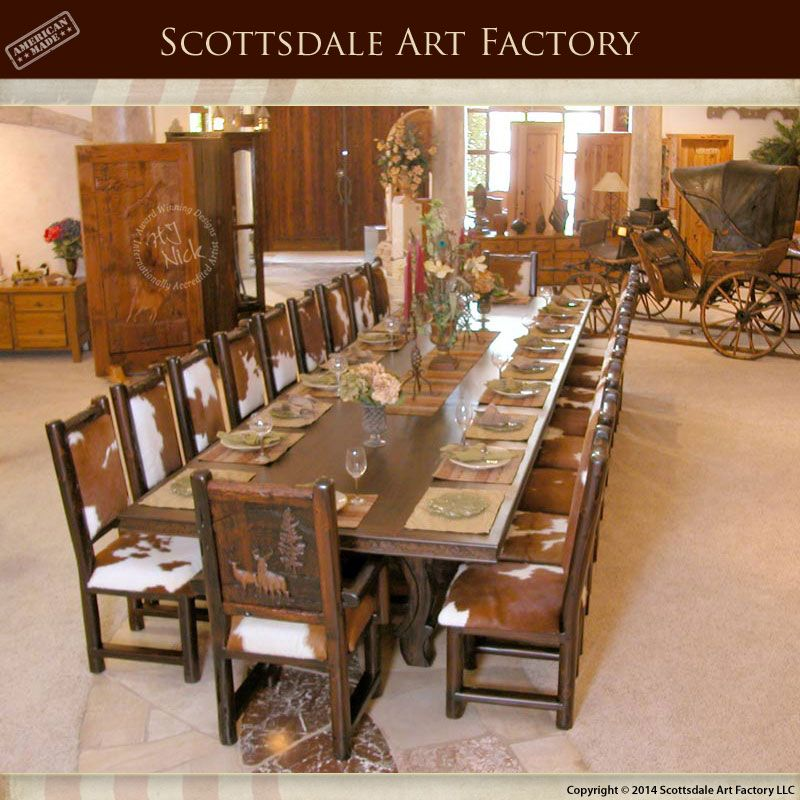 Rustic Hand Carved Lodge Table Solid Wood With Matching Chairs
