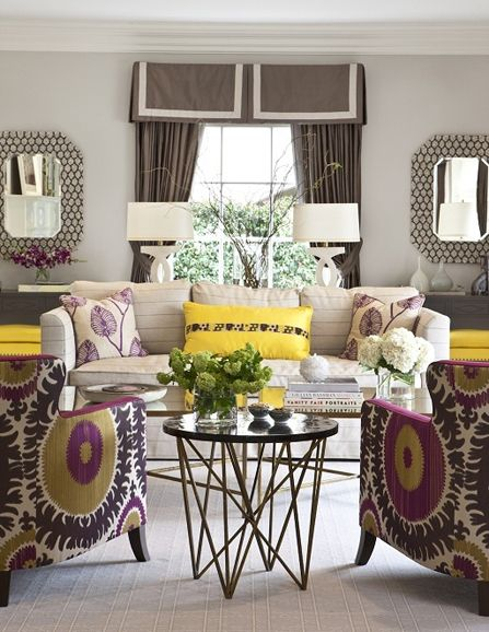 Purple, yellow and taupe living room Suzani chairs Family/Living