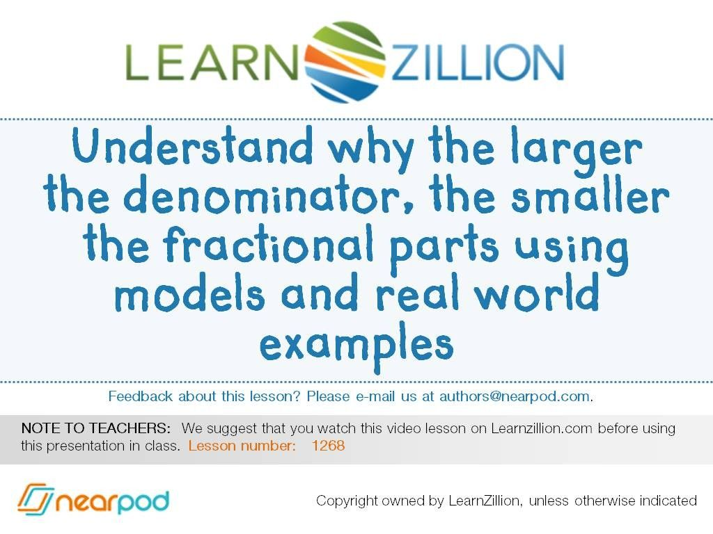 Check out this amazing Math presentation on Larger the denominator ...
