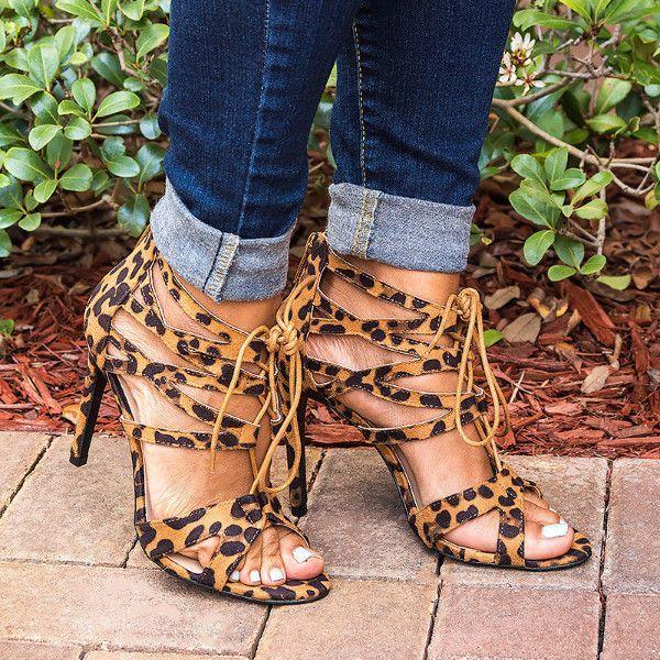 Lace Up Leopard Sandals