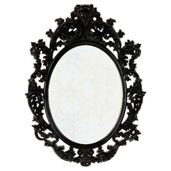 New Ornate Black Oval Baroque Framed Mirror 80x60cm Desks