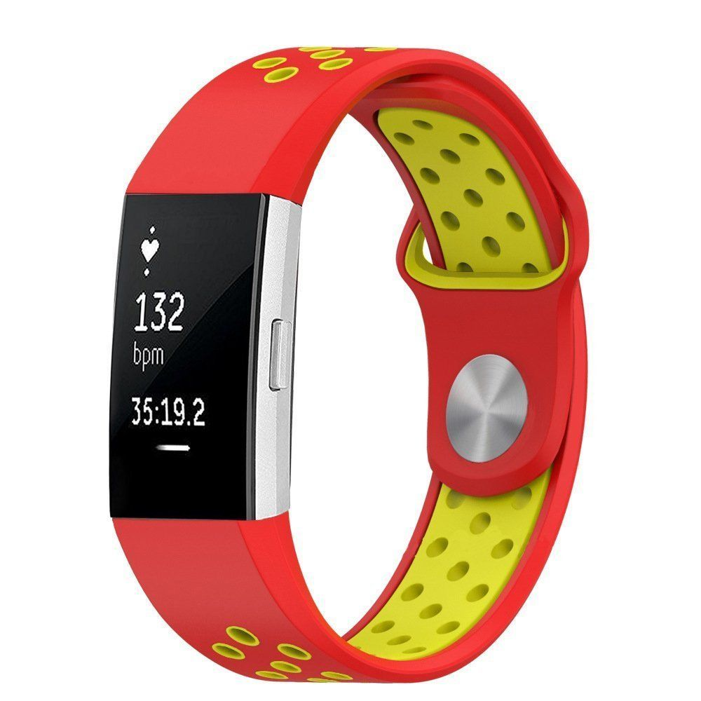 Replacement Band Fitbit Charge 2 Silicone Adjustable Sport Strap Red