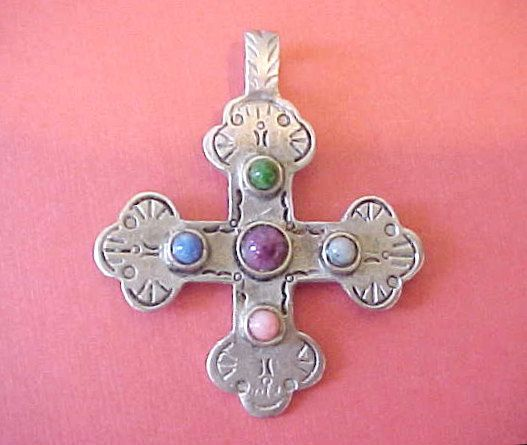 """Lovely Pewter Colored Cross Pendant Set with Pretty Glass """"Stones""""."""