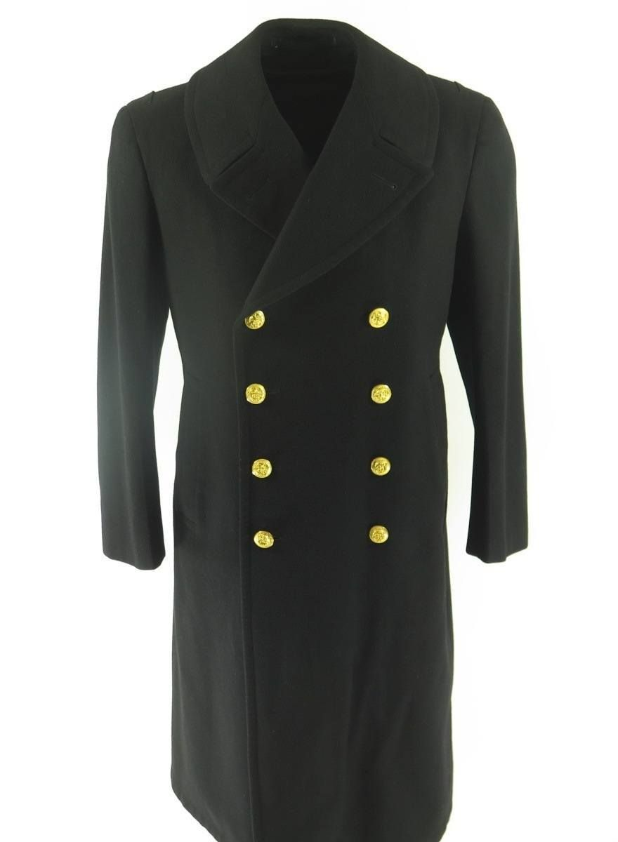b19a0f145 Vintage 80s US Navy Bridge Coat Overcoat 39 40 Regular Med Wool ...