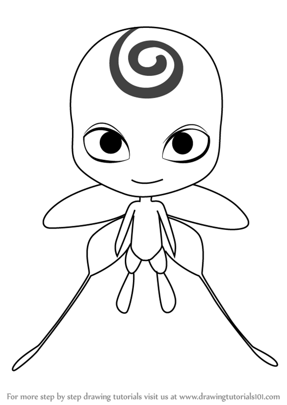 Learn How To Draw Nooroo Kwami From Miraculous Ladybug Miraculous Ladybug Step By Step Dr Ladybug Coloring Page Meraculous Ladybug Miraculous Ladybug Anime