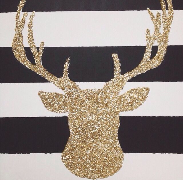Christmas/ Winter: Glittered Deer on striped canvas