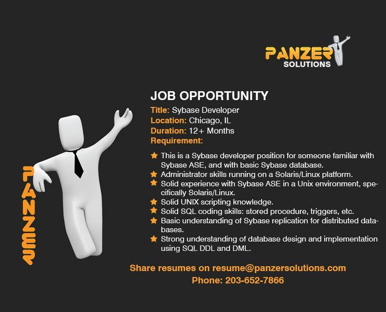 Sybase Developer Job opportunities, Business analyst