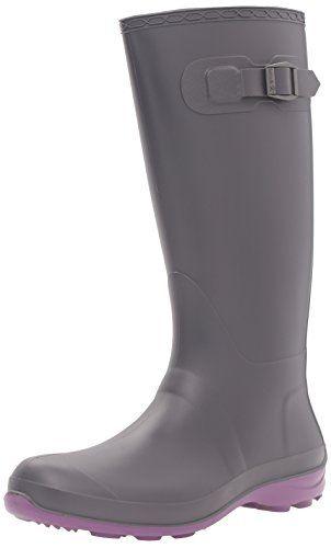 Kamik Womens Olivia Rain Boot Charcoal Purple 9 M US ** Click image for more