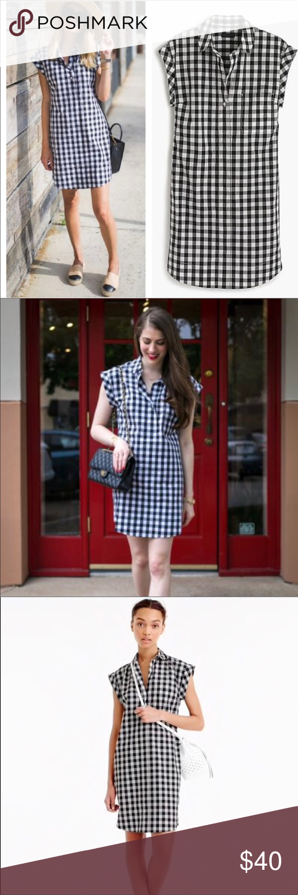 ee281632452 J. Crew Classic Short-sleeve Shirtdress in Gingham A classic shirtdress  made from crisp cotton in our favorite pattern of the season  gingham.