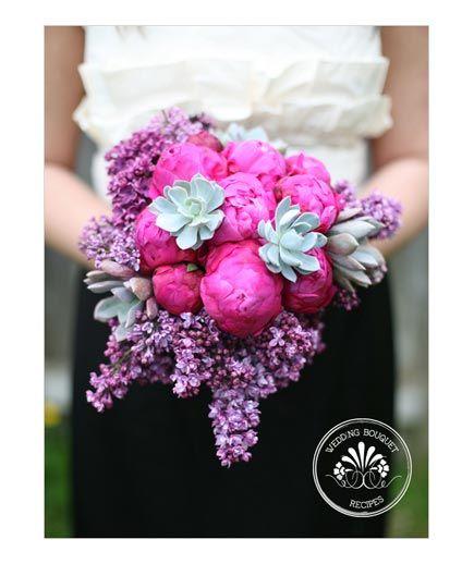 Deep Dark Pink Peonies Enhance The Sweet Undertones Of The Lilacs