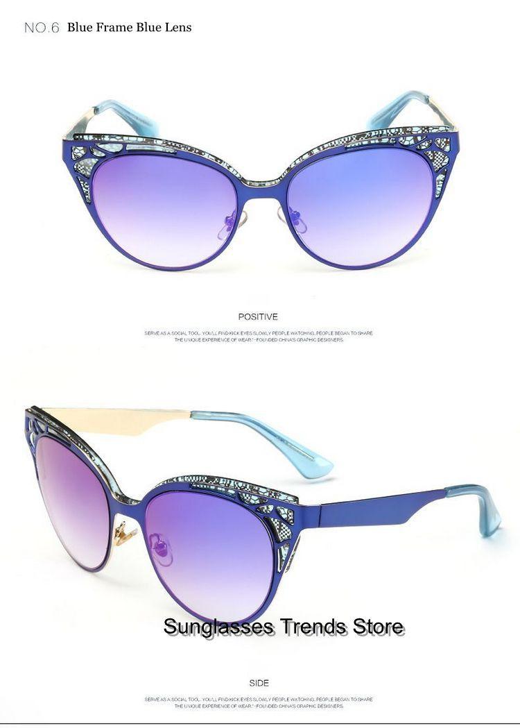 Classic Lace Pattern Cat Eye Womens Sunglasses Acetate Metal Blue Frame 56mm Reflective Blue Lens Blue Lenses Blue Frames Sunglasses