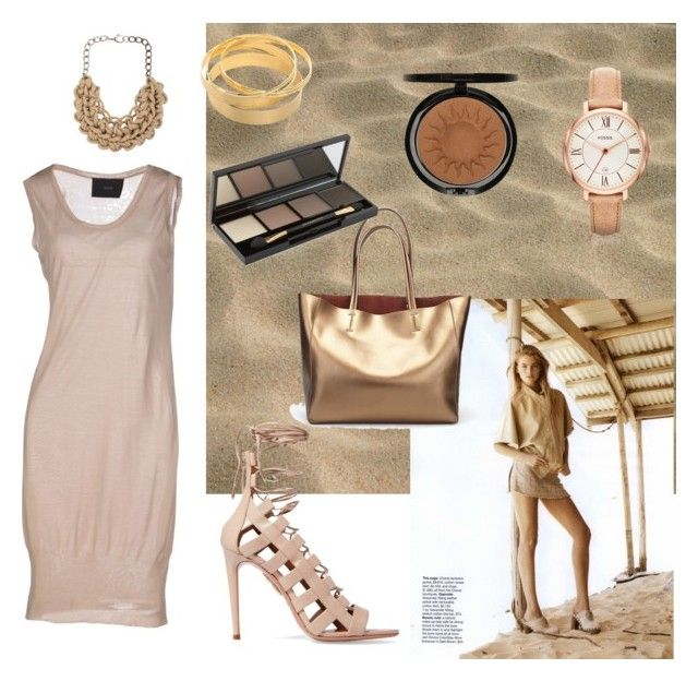 """Look: Sand"" by anatoraya ❤ liked on Polyvore featuring DECOTIIS, Aquazzura, Alienina, FOSSIL, Iman and Dr.Hauschka"