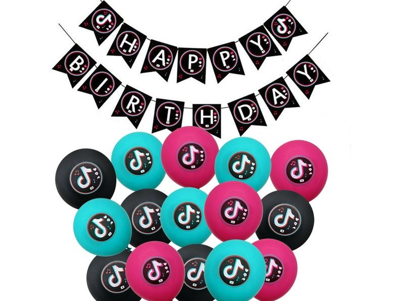 Tiktok Happy Birthday Supplies Settiktok Birthday Etsy In 2021 Birthday Supplies Colorful Birthday Party Decorations Colorful Birthday Party